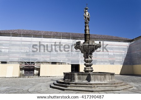 Fountain built in 1723, in Braga, Portugal. Its name derives from the representation of castles on the upper basin and the column above it.  - stock photo