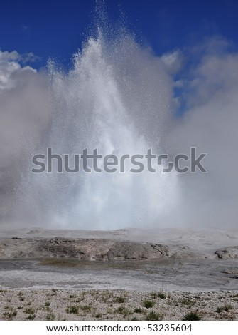 Fountain geyser in yellowstone - stock photo