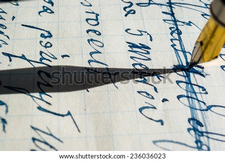 fountain golden pen isolated Isolated on color bacground - stock photo