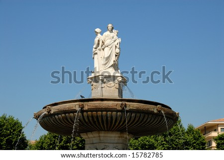 Fountain in Aix-en-Provence, southern France - stock photo