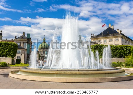 Fountain in Amaliehaven garden in Copenhagen, Denmark - stock photo