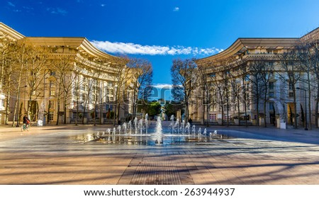 Fountain in Antigone district of Montpellier - France - stock photo