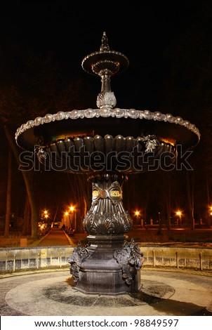 Fountain in Mariinsky Park at night, Kiev, Ukraine - stock photo