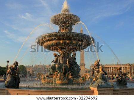 fountain in place de la concorde - stock photo