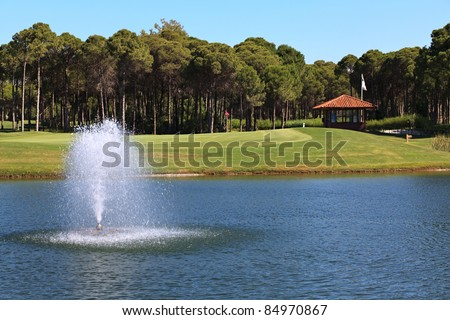 Fountain in the artificial pond. - stock photo