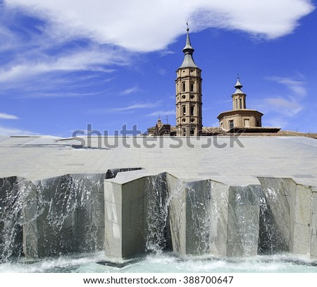 Fountain in the city of Zaragoza Spain - stock photo