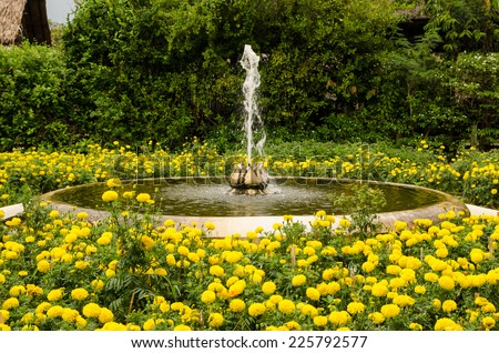 Fountain in the flowers garden, Thai style - stock photo
