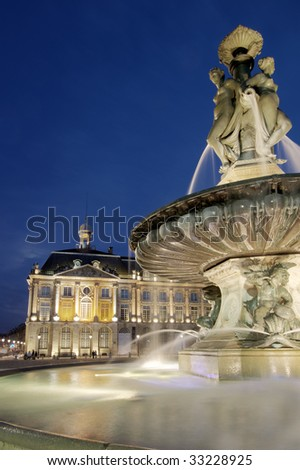 Fountain in the Place of the Bourse, Bordeaux (France) - stock photo