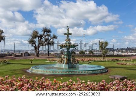 Fountain in Torquay, England - stock photo