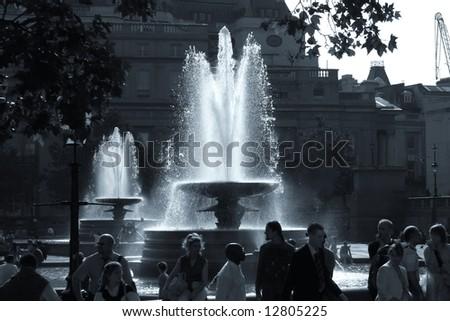 Fountain in Trafalgar Square. - stock photo