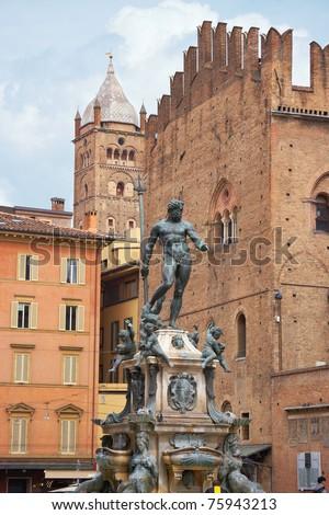 Fountain of Neptune on a Piazza Maggiore. Bologna, Italy - stock photo