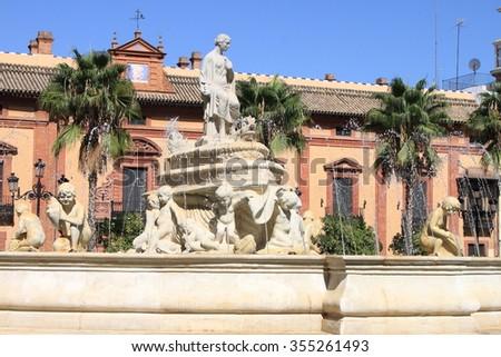 Fountain of Sevilla at the Puerta de Jerez square. Sevilla, Spain - stock photo
