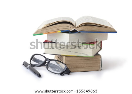Fountain pen books and glasses - stock photo