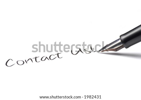 Fountain pen writing Contact Us! - stock photo