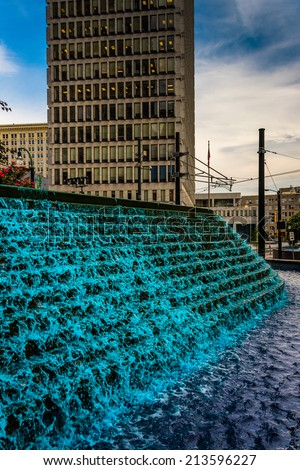 Fountains and building at Woodruff Park in downtown Atlanta, Georgia. - stock photo