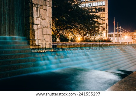 Fountains and buildings at night at Woodruff Park in downtown Atlanta, Georgia. - stock photo