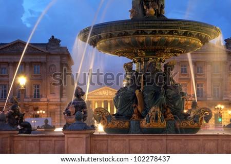 Fountains de la Concorde in Place de la Concorde, Paris, France. - stock photo