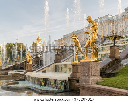 Fountains in Petrodvorets Peterhof, Saint Petersburg, Russia. Grand cascade fountains at Peterhof palace, St.Petersburg, Russia.  - stock photo