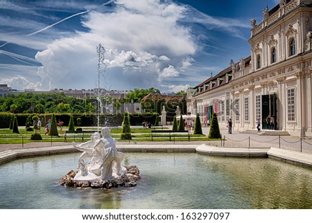 Fountains near the Belvedere art gallery in Vienna, Austria. - stock photo