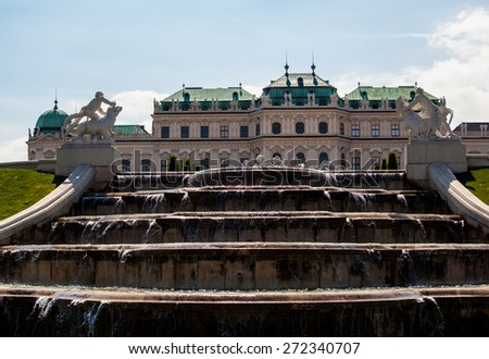 Fountains of Belvedere Palace, Vienna, Austria - stock photo