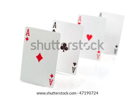 Four aces isolated over white - stock photo