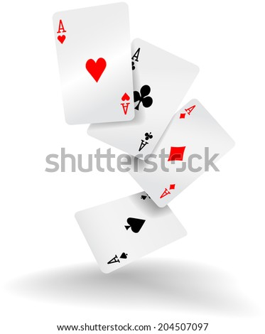 Four aces of diamonds clubs spades and hearts fall or fly as poker playing cards - stock photo