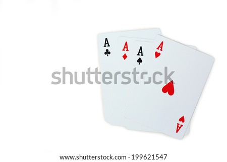 four aces poker playing cards isolated on white background - stock photo