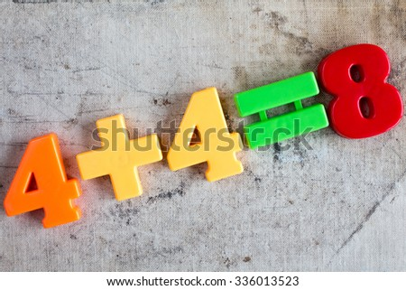 Four add four, simple math addition on old canvas background - stock photo
