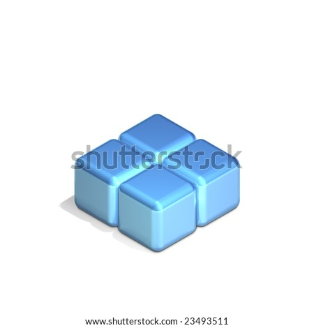 Four Adjacent Cubes in Three Dimensional Isometric Perspective (jpeg file has clipping path) - stock photo