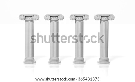 Four ancient pillars, isolated on white background. - stock photo