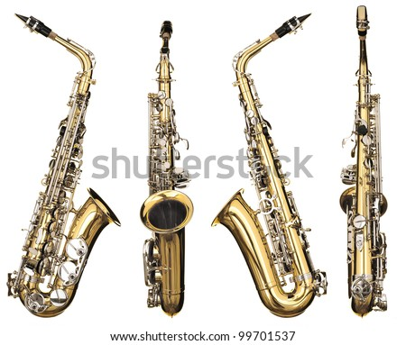 Four angles of a classical alto saxophone woodwind instrument - stock photo