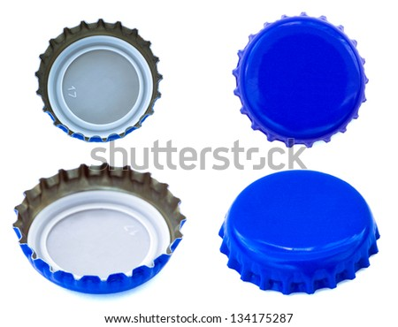 Four angles of blue colored metal caps, used for glass soda bottles. Isolated on white background. - stock photo