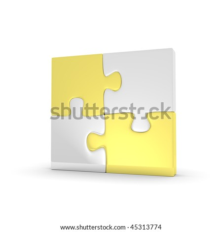 Four assembled puzzles on white background - stock photo