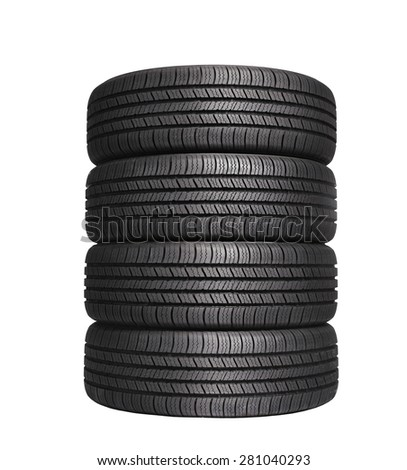 four automobile black rubber tires isolated on white background - stock photo