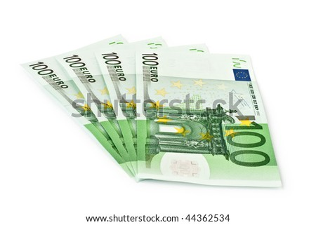 four banknotes of euro isolated on a white background - stock photo