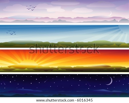 Four banners showing day cycle (other landscapes are in my gallery) - stock photo