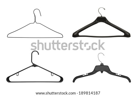 Four Black Clothes Hangers Isolated on White Background. - stock photo