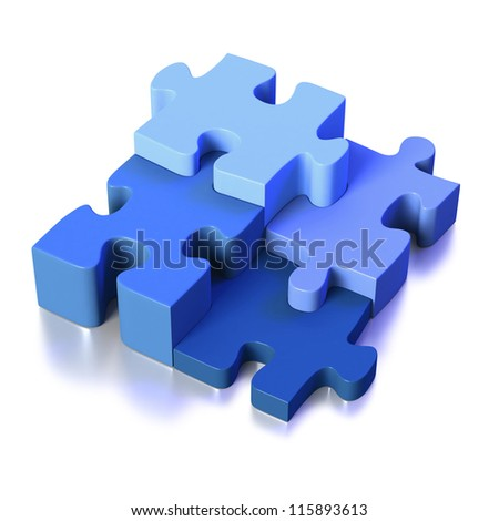 Four blue puzzle pieces linking as part of solution on white background - stock photo