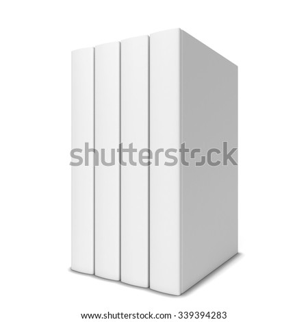 Four books in a row. 3d illustration isolated on white background  - stock photo