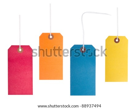 Four bright, vibrant, blank coloured lables - stock photo