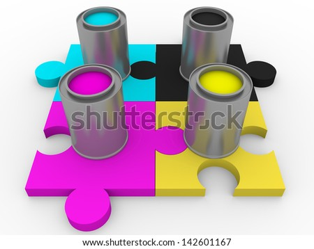 Four buckets of tints for graphic arts. Cyan, magenta, yellow and black - stock photo