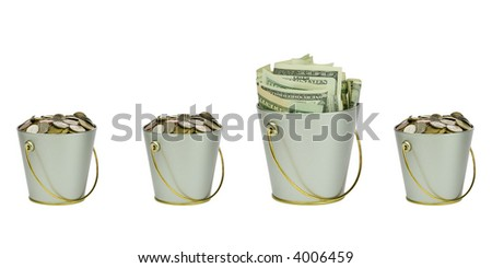 Four buckets with money in a row - stock photo