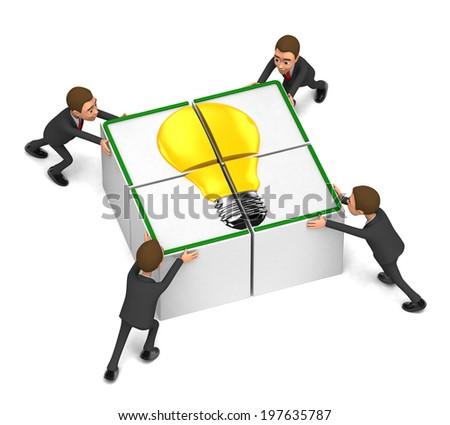 Four businessmen gather cubes - stock photo
