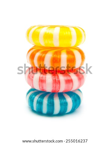 four candies isolated on white - stock photo