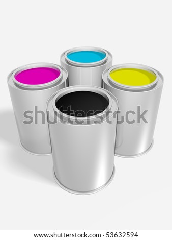 Four cans plenty of tints. Cyan, magenta, yellow and black. - stock photo