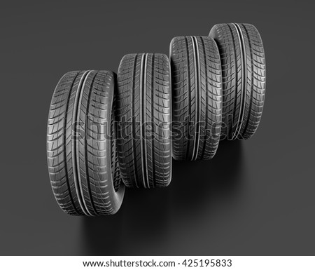 Four car tires on black background.  3d illustration - stock photo