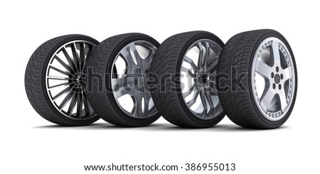 Four car wheel on a white background - stock photo