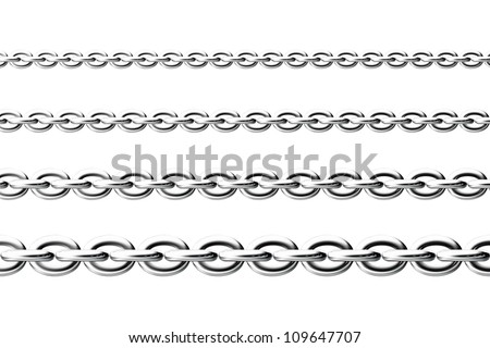 Four chains parallel to each other - stock photo