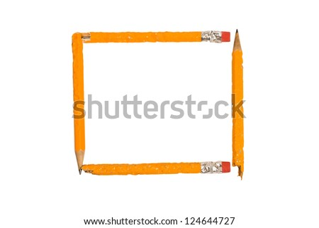 Four chewed yellow pencils form a square frame.  XXXL  Isolated on white. - stock photo