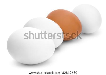 Four chicken egg on white background - stock photo